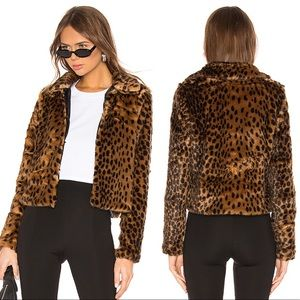 Revolve By The Way Casey Leopard Faux Fur Jacket